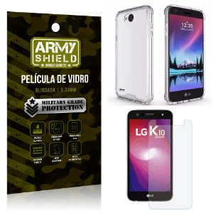 Kit Capa Anti Impacto + Película de Vidro LG K10 POWER - Armyshield