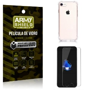Kit Capa Anti Impacto + Película de Vidro iPhone 7G - Armyshield