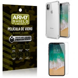 Kit Capa Anti Impacto + Película de Vidro iPhone X - Armyshield