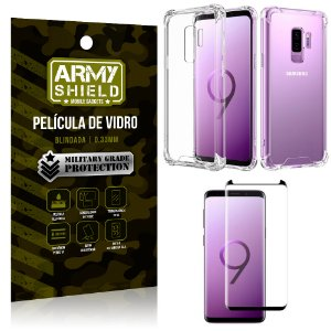 Kit Capa Anti Shock + Película Vidro Curva Premium Samsung Galaxy S9 PLUS - Armyshield