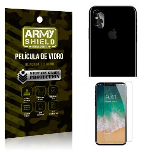 Kit Película de Lente Anti Risco + Película de Vidro Apple Iphone X - Armyshield