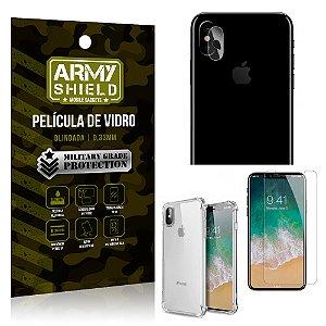 Kit Película de Lente + Película de Vidro + Capa Silicone Apple Iphone X - Armyshield