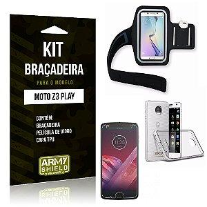 Kit Braçadeira Motorola Z3 Play Braçadeira + Capa + Película  - Armyshield