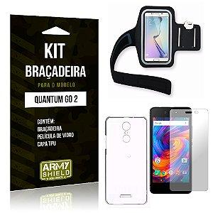 Kit Braçadeira Quantum Go 2 Braçadeira + Capa + Película  - Armyshield
