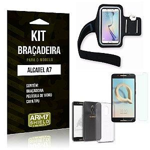 Kit Braçadeira Alcatel A7 Braçadeira + Capa + Película  - Armyshield