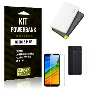 Kit Powerbank Xiaomi Redmi 5 Plus Powerbank + Capa + Película  - Armyshield
