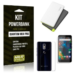 Kit Powerbank Quantum Muv Pro Powerbank + Capa + Película  - Armyshield