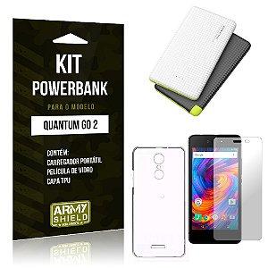Kit Powerbank Quantum Go 2 Powerbank + Capa + Película  - Armyshield