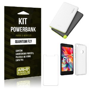 Kit Powerbank Quantum Fly Powerbank + Capa + Película  - Armyshield