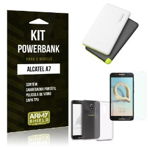 Kit Powerbank Alcatel A7 Powerbank + Capa + Película  - Armyshield
