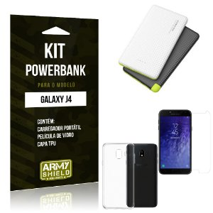 Kit Powerbank Samsung J4 Powerbank + Capa + Película  - Armyshield