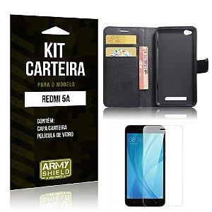 Kit Carteira Xiaomi Redmi 5A Capa Carteira + Película de Vidro - Armyshield