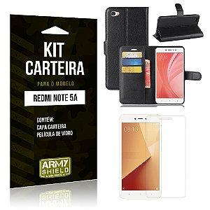 Kit Carteira Xiaomi Redmi Note 5A Capa Carteira + Película de Vidro - Armyshield