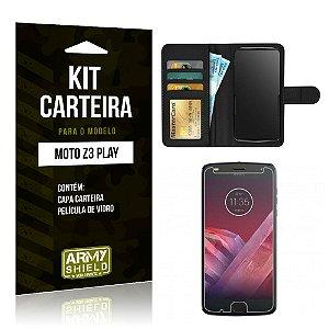 Kit Carteira Motorola Z3 Play Capa Carteira + Película de Vidro - Armyshield