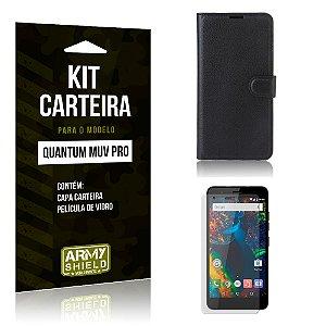 Kit Carteira Quantum Muv Pro Capa Carteira + Película de Vidro - Armyshield