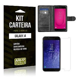 Kit Carteira Samsung J4 Capa Carteira + Película de Vidro - Armyshield