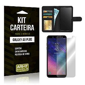 Kit Carteira Samsung A6 Plus Capa Carteira + Película de Vidro - Armyshield