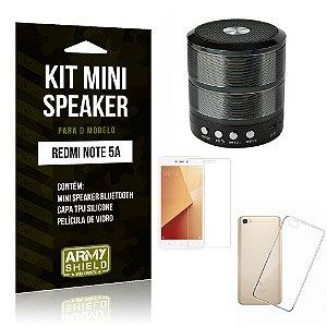Kit Mini Speaker WS887 Xiaomi Redmi Note 5A Mini Caixa de Som Bluetooth + Capa + Película  - Armyshield