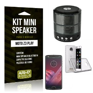 Kit Mini Speaker WS887 Motorola Z3 Play Mini Caixa de Som Bluetooth + Capa + Película  - Armyshield