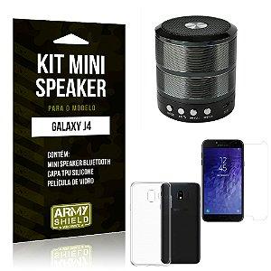 Kit Mini Speaker WS887 Samsung J4 Mini Caixa de Som Bluetooth + Capa + Película  - Armyshield