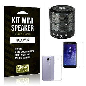 Kit Mini Speaker WS887 Samsung J6 Mini Caixa de Som Bluetooth + Capa + Película  - Armyshield