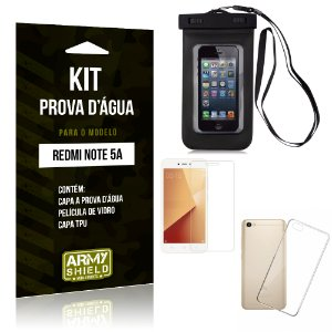 Kit Capa Prova D'água Xiaomi Redmi Note 5A Capa a Prova D'água + Capa + Película  - Armyshield