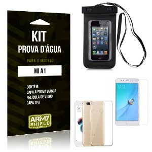 Kit Capa Prova D'água Xiaomi Mi A1 Capa a Prova D'água + Capa + Película  - Armyshield