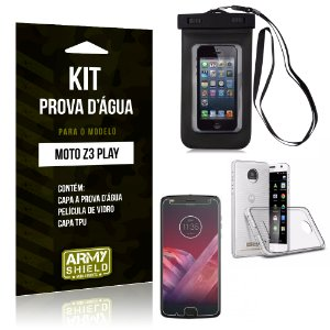 Kit Capa Prova D'água Motorola Z3 Play Capa a Prova D'água + Capa + Película  - Armyshield