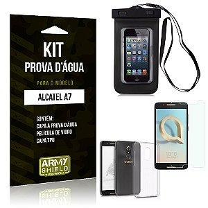 Kit Capa Prova D'água Alcatel A7 Capa a Prova D'água + Capa + Película  - Armyshield