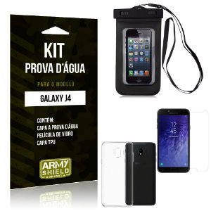 Kit Capa Prova D'água Samsung J4 Capa a Prova D'água + Capa + Película  - Armyshield
