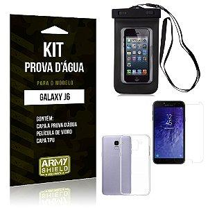 Kit Capa Prova D'água Samsung J6 Capa a Prova D'água + Capa + Película  - Armyshield