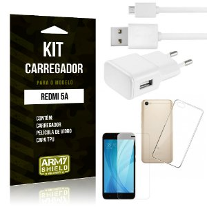 Kit Carregador Tomada Xiaomi Redmi 5A Carregador Tomada + Capa + Película  - Armyshield
