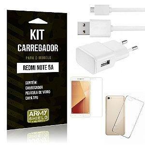 Kit Carregador Tomada Xiaomi Redmi Note 5A Carregador Tomada + Capa + Película  - Armyshield