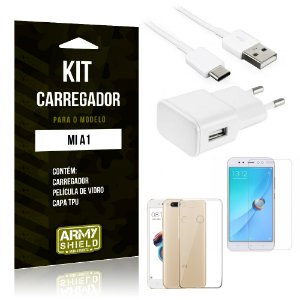 Kit Carregador Tomada Tipo C Xiaomi Mi A1 Carregador Tomada + Capa + Película  - Armyshield