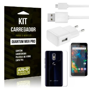 Kit Carregador Tomada Quantum Muv Pro Carregador Tomada + Capa + Película  - Armyshield