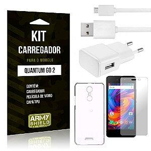 Kit Carregador Tomada Quantum Go 2 Carregador Tomada + Capa + Película  - Armyshield