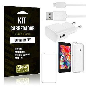 Kit Carregador Tomada Quantum Fly Carregador Tomada + Capa + Película  - Armyshield
