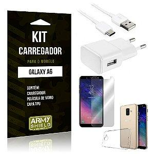 Kit Carregador Tomada Samsung A6 Carregador Tomada + Capa + Película  - Armyshield