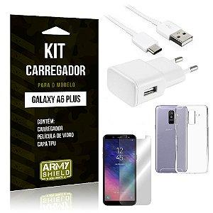 Kit Carregador Tomada Samsung A6 Plus Carregador Tomada + Capa + Película  - Armyshield