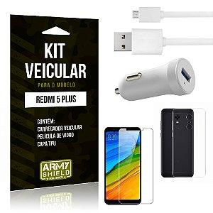 Kit Carregador Carro Xiaomi Redmi 5 Plus Carregador Carro + Capa + Película  - Armyshield