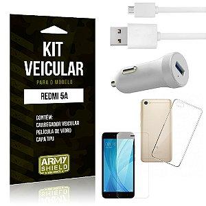 Kit Carregador Carro Xiaomi Redmi 5A Carregador Carro + Capa + Película  - Armyshield