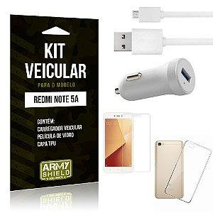 Kit Carregador Carro Xiaomi Redmi Note 5A Carregador Carro + Capa + Película  - Armyshield