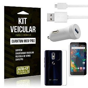 Kit Carregador Carro Quantum Muv Pro Carregador Carro + Capa + Película  - Armyshield