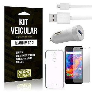 Kit Carregador Carro Quantum Go 2 Carregador Carro + Capa + Película  - Armyshield