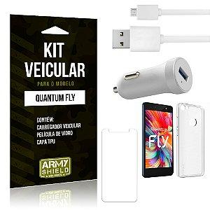 Kit Carregador Carro Quantum Fly Carregador Carro + Capa + Película  - Armyshield