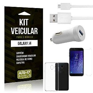 Kit Carregador Carro Samsung J4 Carregador Carro + Capa + Película  - Armyshield