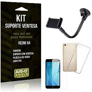 Kit Suporte Ventosa Xiaomi Redmi 5A Suporte + Capa + Película  - Armyshield