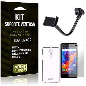 Kit Suporte Ventosa Quantum Go 2 Suporte + Capa + Película  - Armyshield