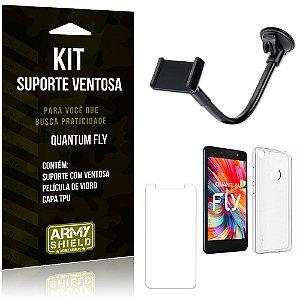 Kit Suporte Ventosa Quantum Fly Suporte + Capa + Película  - Armyshield