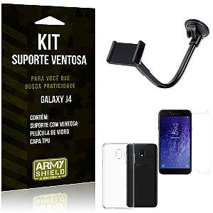 Kit Suporte Ventosa Samsung J4 Suporte + Capa + Película  - Armyshield